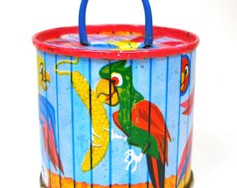 Tin Toy  PARROT Bank 60's metal lithograph Bird Cage savings bank, piggy bank. Coin bank, kids bank,