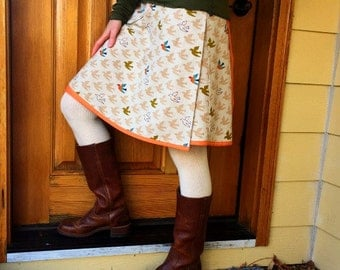 Women's Wrap Skirt  -Peace Doves- Adjustable Size - Ready to Ship