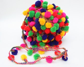 Multi Color Pompom lace, Pom Pom Trim, Bulk Lot of Trim,  Scarf pom pom trim,  Indian Trim, 25+ yards, Gypsy, Boho , Belly Dance,