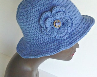 Ladies Handmade Hat, Crochet Hat, Cotton Cloche, Blue, Summer Hat, Made in the USA