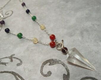 Clear Quartz Crystal Chakra Pendulum Necklace - Jasper Carnelian Citrine Aventurine Lapis Lazuli Amethyst Clear Quartz Crystal Gemstones