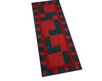 Holiday Table Runner Quilted Red and Green Patchwork Free USA Shipping