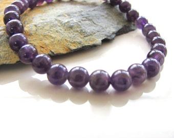 Amethyst Stretch Gemstone Bracelet - Yoga Jewelry, Meditation, Healing - Yoga Stretch Gem Bracelet - Stackable Bracelets - Purple Bracelet