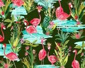 Flamingos By the Pond - Dark Green - Iza Pearl Design - Melissa Ybarra - Windham Fabrics