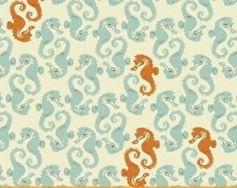 Sea Horses Cream Light Blue Orange - Heather Ross MENDOCINO 2016 - Windham Fabrics