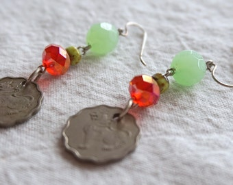 Sri Lankan coin earrings-  earrings with opaque celery green and red orange fire polished Czech glass rondelles with vintage Ceylon coins