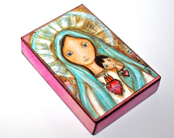 Immaculate Heart of Mary with Child - ACEO print mounted on Wood (2.5 x 3.5 inches)FLOR LARIOS