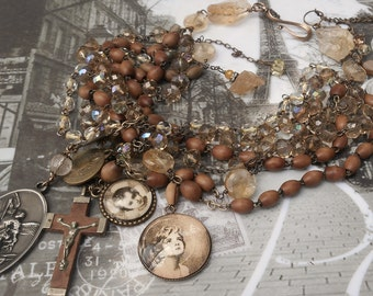 Fall Sale..20% off monthly sale....You Better Think Antique Crystal Rosaries Citrine Necklace & earring set