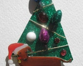 Stephen Dalton Dachshund Dog Christmas Tree Pin Vintage Stones Lights