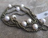 Bronze Beads and Freshwater Pearl Necklace