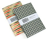 50% SALE Notebook Set: Metallic Gold or Silver paperback journal with Japanese Chiyogami. Glittery, sparkly, Christmas stocking filler gift.