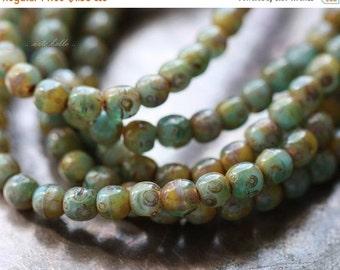 10% off SEASHORE No. 4 .. 50 Picasso Czech Druk Glass Beads 3mm (3783-st)