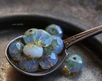 LAVENDER MOON No.2  .. 10 Premium Picasso Czech Rondelle Glass Beads 6x9mm (B123-10)