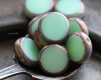 last ones .. BRONZED MINTS .. 10 Premium Picasso Czech Glass Coin Beads 11mm (5275-10)