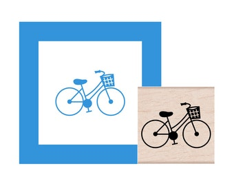 Bicycle with Basket  Rubber Stamp