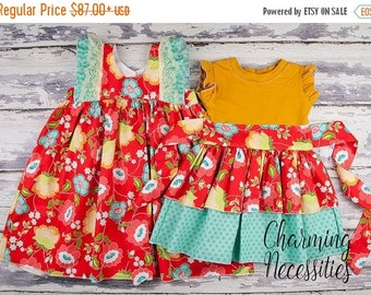 SALE Big Sister Little Sister Set, Sibling Outfits, Twins, Knit Top Dress and Double Flutter Dress by Charming Necessities Truly Jane