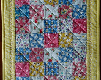 Doll Quilt, Small Quilt, Wall Hanging, Table Topper, Pink, Blue and Yellow