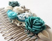 ON SALE Blue Grey Cloudy Skeletina Cluster Hair Comb - Fascinator Kitschy Cool Offbeat Wedding Bride Skull