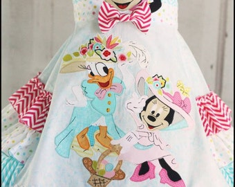 Easter Bonnet Spring Disney Minnie Mouse and Daisy dress Sizes 2 3 4 5 6 7 8 9 10