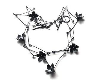 Bell Flower Necklace, Black Flower Necklace, Sterling Flower Necklace,  Statement Necklace, Wedding Jewelry, Flower Necklace