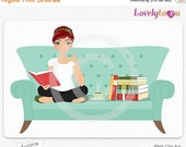 SALE Woman with books on sofa, digital PNG clip art (Aurora 512)