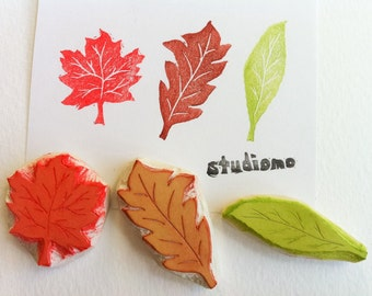 three leaf stamp set, hand carved rubber stamps, birch maple oak stamp set