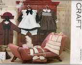 "Sewing Pattern for 18"" Dolls, Dress with Bloomers,Pinafore, Coat and Hat, Scarf, Gloves and Shoes Vogue 8648"