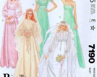 """Vintage Misses Wedding Dress and Bridesmaids Dresses Sewing Pattern McCalls 7190 Bust Size 32.5"""""""