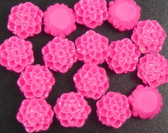 CLEARANCE Cabochon Resin Flower 16 Resin Round Rose Flower Fuchsia Pink 10mm x 6mm (1027cab10m1-3)os