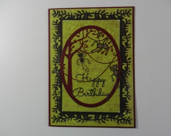 Birthday  card Monkeys in a tree greens , browns and burdgandy