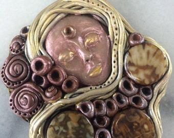 Kabbalations Brown, Gold, Neutrals, Shell, Goddess Pendant with 3 Brown Circular Shell Gemstones