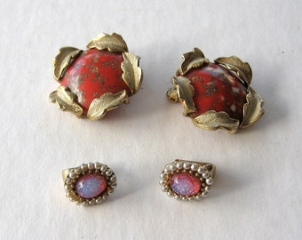 Judy Lee Vintage 1960's Clip Earrings 2 Pair
