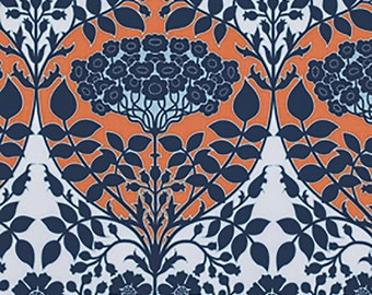 Joel Dewberry Fabric by the Yard - Botanique - Leafy Damask in Apricot - Quilter's Cotton