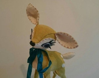Made to Order - Limey Yellow Fawn - Yellow Suede Leather & Cream Felt Hand Stitched Deer - Limited Edition