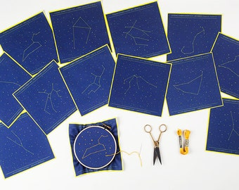 Full Set of 12 Zodiac Constellation Embroidery Patterns - DIY, Embroidery Kit, Embroidery Pattern