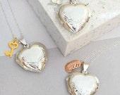 Sterling Silver Large Heart Charmed Locket