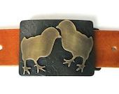 Peep Love Chicks Brass Belt Buckle