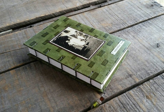 Nostalgic Journal With Vintage Photo, Green Lokta Photo Art Journal, Small Green Lokta Journal, Handmade Blank Green Journal With Old Photo