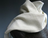 Handwoven Silk, Cashmere and Wool Scarf: Peppered Pearl