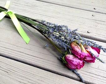 Dried Flowers - Dried Flower Bouquet - Dried Flower Bunch - Real Dried Flowers - Dried Roses and Lavender - Dried Lavender - Floral Decor