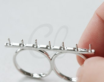 1 Piece White Gold Plated S925 Sterling Silver 2 Finger Ring Base - Glue On - Adjustable -  (WG1)
