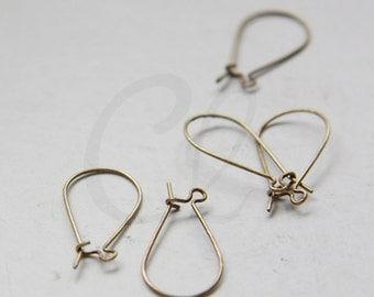 4pcs (2 Pairs) Antique Brass Earring Hooks - Kidney 24x12mm (432C-I-218B)