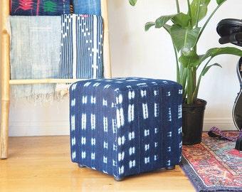 Vintage African Indigo Mudcloth Cube Ottoman