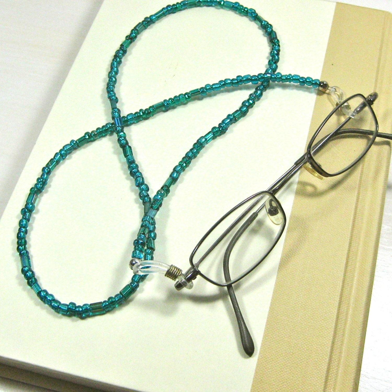 teal green eyeglass chain blue green eyeglass holder beaded