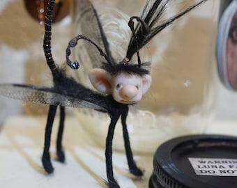 ooak CAPTURED LUNA FAIRY in mason jar ( #4 ) poseable polymer clay art doll by DinkyDarlings elf pixie faery