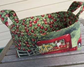 Fabric Basket Bin Storage Organization in Apples, Puppies, and Sunflowers Country Small Size