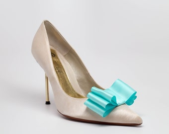 Aqua  Blue Satin Ribbon Bow Shoe Clips Set Of Two, More Colors Available