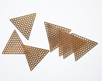 20 raw brass die cut charm in triangle holes mesh 37mm each side