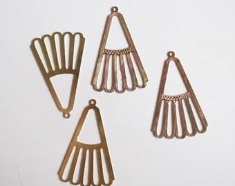 20 die cut brass charm fan shape 32 x 21mm charm