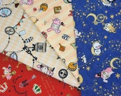 San-X licensed  fabric   Sentimental  Circus fabric  Scrap set of 4 pieces